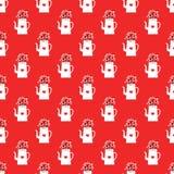 Teste padrão do ano novo com chaleiras e corações ilustração royalty free