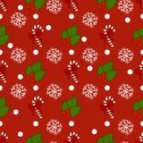 Teste padrão do ano novo com elementos da decoração do Natal Boas festas teste padrão com doces do Natal e neve em um fundo verme Imagem de Stock