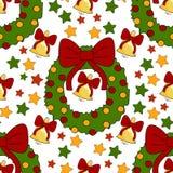 Teste padrão do ano novo com elementos da decoração do Natal Boas festas teste padrão com sino, estrelas, grinalda em um fundo br Fotos de Stock