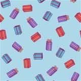 Teste padrão do ano novo das caixas com presentes em um fundo azul ilustração royalty free