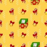 Teste padrão do ano novo feliz com doce, presentes e sinos Imagem de Stock Royalty Free