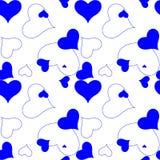 Teste padrão do azul do coração Fotos de Stock