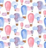 Teste padrão do balão de ar da aquarela Fotos de Stock