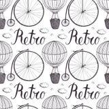 Teste padrão do balão e da bicicleta de ar quente do vintage Fotografia de Stock Royalty Free
