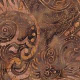 Teste padrão do Batik de Brown Foto de Stock