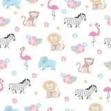 Teste padrão do bebê com animais e flores da selva Foto de Stock Royalty Free