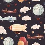 Teste padrão do bebê dos aviões da aquarela ilustração royalty free