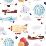 Teste padrão do bebê dos aviões da aquarela ilustração do vetor