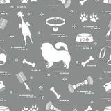 Teste padrão do cão da comida-comida da silhueta, da bacia, do osso, da escova, do pente, dos brinquedos e dos outros artigos ao  ilustração stock