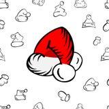 Teste padrão do chapéu do Natal ilustração royalty free
