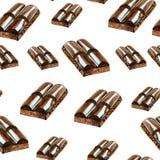 Teste padrão do chocolate doce de verão da aquarela Fotografia de Stock Royalty Free