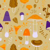 Teste padrão do cogumelo dos desenhos animados Fotos de Stock Royalty Free