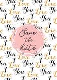 Teste padrão do coração, ícones e ilustrações tirados mão para Valentim e casamento Salvar o molde do convite da data
