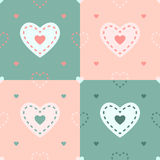 Teste padrão do coração do vetor em 4 cores Imagem de Stock