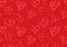 Teste padrão do coração no vermelho e no rosa Fotografia de Stock