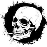 Teste padrão do crânio humano com um cigarro ilustração do vetor