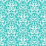 Teste padrão do damasco no branco na turquesa Imagem de Stock
