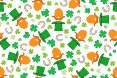 Teste padrão do dia de St Patrick sem emenda com duende e ilustrações engraçadas fotografia de stock