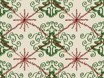 Teste padrão do Doodle do floco de neve da árvore de Natal Foto de Stock