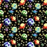 Teste padrão do espaço com planetas ilustração royalty free