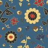 Teste padrão do estilo chinês com flores e folhas Imagens de Stock Royalty Free