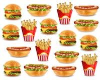 Teste padrão do fast food com hamburguer, cachorro quente, e batatas fritas Ilustrações 3d realísticas do vetor Fotografia de Stock Royalty Free