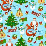 Teste padrão do feriado dos desenhos animados com a árvore de Santa Claus, de Natal, os presentes, o galo, o boneco de neve, os s Fotos de Stock