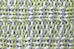 Teste padrão do fundo, cinza, branco e luz feitos malha - verde Imagens de Stock Royalty Free