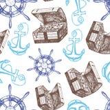 Teste padrão do fundo da âncora, da arca do tesouro e do volante do navio Vetor Imagens de Stock Royalty Free