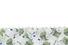 Teste padrão do fundo de um grupo de denominações monetárias verdes de 100 euro Foto de Stock