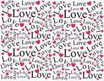 Teste padrão do fundo do amor e dos corações Imagem de Stock Royalty Free