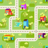 Teste padrão do fundo do conceito da cidade sem emenda Imagem de Stock Royalty Free