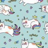 Teste padrão do gato do unicórnio Imagens de Stock Royalty Free