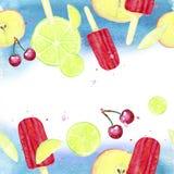 Teste padrão do gelado da aquarela Fotos de Stock