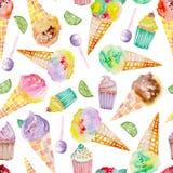 Teste padrão do gelado e do doce em um fundo branco Imagens de Stock