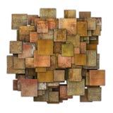 teste padrão do grunge da telha do quadrado do marrom do vermelho 3d alaranjado no branco Imagens de Stock Royalty Free