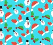 Teste padrão do inverno do Natal Boneco de neve, nozes, chapéus ilustração do vetor