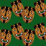 Teste padrão do jaguar da máscara dos astecas de Imagens de Stock
