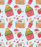 Teste padrão do kawaii do queque da morango ilustração stock