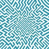Teste padrão do labirinto da geometria do sumário do gráfico de vetor Fundo geométrico sem emenda azul Foto de Stock Royalty Free