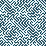 Teste padrão do labirinto da geometria do sumário do gráfico de vetor fundo geométrico sem emenda azul do labirinto Imagem de Stock Royalty Free