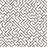 Teste padrão do labirinto da geometria do sumário do gráfico de vetor fundo geométrico sem emenda preto e branco Fotografia de Stock Royalty Free
