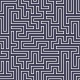 Teste padrão do labirinto da geometria do sumário do gráfico de vetor fundo geométrico sem emenda roxo do labirinto Fotos de Stock Royalty Free