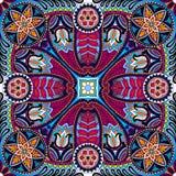 Teste padrão do lenço do quadrado do vetor de Boho paisley Fotos de Stock Royalty Free