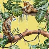 Teste padrão do leopardo do vetor da aquarela ilustração royalty free