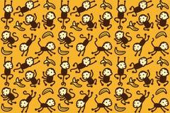 Teste padrão do macaco e da banana Imagens de Stock