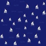 Teste padrão do mar com os navios de navigação no fundo da marinha ilustração stock