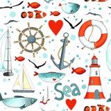 Teste padrão do mar do vetor com elementos náuticos ilustração do vetor