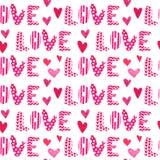 Teste padrão do marcador Valentine Seamless Hearts e do amor com letras Foto de Stock Royalty Free
