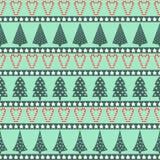 Teste padrão do Natal - árvores do Xmas, estrelas e bastões de doces variados Fotos de Stock Royalty Free